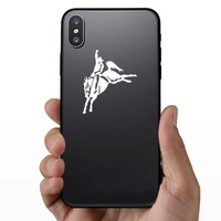 Rodeo Cowboy On Saddled Bronco Sticker on a Phone example
