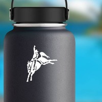 Rodeo Cowboy On Saddled Bronco Sticker on a Water Bottle example