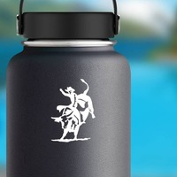 Rodeo Cowboy Riding Bull Sticker on a Water Bottle example