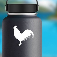 Rooster Sticker on a Water Bottle example