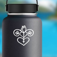 Rose And Hearts Design on a Water Bottle example