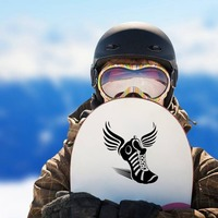 Running Track Shoe with Wings Sticker on a Snowboard example