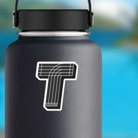 Running Track T Sticker on a Water Bottle example