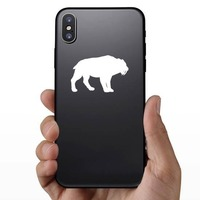 Saber Toothed Tiger Silhouette Sticker on a Phone example