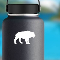 Saber Toothed Tiger Silhouette Sticker on a Water Bottle example