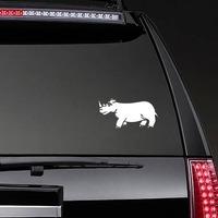 Sad Rhinoceros Sticker on a Rear Car Window example