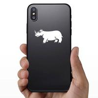 Sad Rhinoceros Sticker on a Phone example