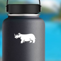 Sad Rhinoceros Sticker on a Water Bottle example