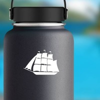 Sail Boat Ship Sticker on a Water Bottle example