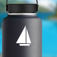 Sail Boat Sticker on a Water Bottle example