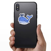Save Our Oceans Whale Sticker on a Phone example