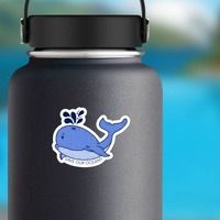 Save Our Oceans Whale Sticker on a Water Bottle example