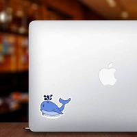 Save Our Oceans Whale Sticker on a Laptop example