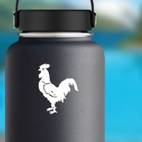 Scared Rooster Sticker on a Water Bottle example