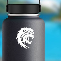Scary Lion Sticker on a Water Bottle example