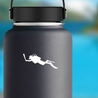 Scuba Diver Sticker on a Water Bottle example