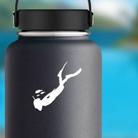 Scuba Diver Swimming With Fish Sticker on a Water Bottle example