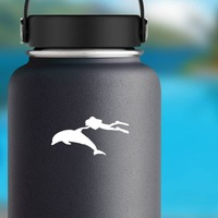 Scuba Diver With Dolphin Sticker on a Water Bottle example