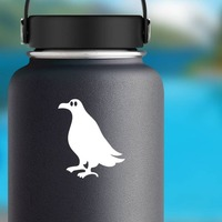 Seagull With Big Eyes Sticker on a Water Bottle example