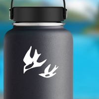 Seagulls Flying Sticker on a Water Bottle example