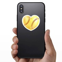 Shiny Yellow Heart Softball Sticker on a Phone example