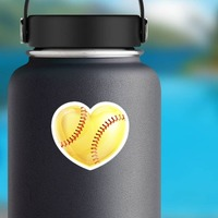Shiny Yellow Heart Softball Sticker on a Water Bottle example