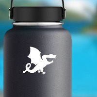 Silly Dragon Sticking Out Tongue Sticker on a Water Bottle example