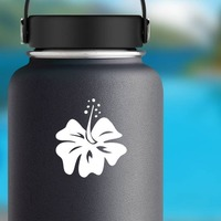 Simply Lovely Hibiscus Flower Sticker on a Water Bottle example