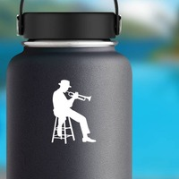 Sitting Musical Trumpet Player Sticker on a Water Bottle example