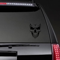 Skull With Lines Fading Down on a Rear Car Window example