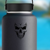 Skull With Lines Fading Down on a Water Bottle example