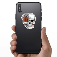 Skull With Side Bow Of Flowers Sticker on a Phone example