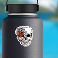 Skull With Side Bow Of Flowers Sticker on a Water Bottle example