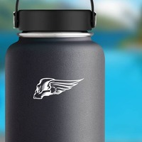 Skull With Wings Sticker on a Water Bottle example