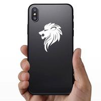 Sleek Lion Head Sticker on a Phone example