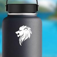 Sleek Lion Head Sticker on a Water Bottle example