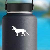 Small Wolf Coyote Howling Sticker on a Water Bottle example
