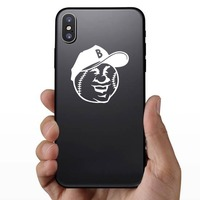 Smiling Baseball Softball With A Hat Sticker on a Phone example
