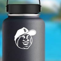 Smiling Baseball Softball With A Hat Sticker on a Water Bottle example