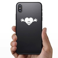 Smiling Heart With Hands Sticker on a Phone example