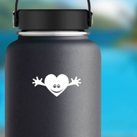 Smiling Heart With Hands Sticker on a Water Bottle example