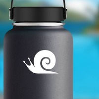Snail With Swirl Sticker on a Water Bottle example