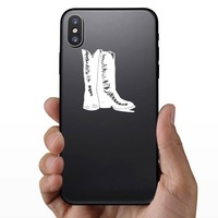 Snakeskin Cowboy Boots Sticker on a Phone example