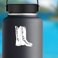 Snakeskin Cowboy Boots Sticker on a Water Bottle example