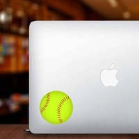 Softball Full Color Sticker on a Laptop example