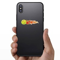Softball With Flames Sticker on a Phone example