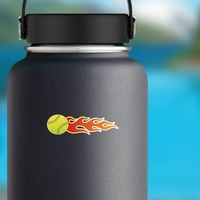 Softball With Flames Sticker on a Water Bottle example
