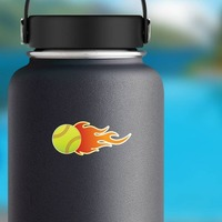 Softball On Fire Sticker on a Water Bottle example