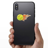 Softball With Short Flames Sticker on a Phone example