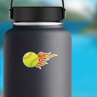 Softball With Short Flames Sticker on a Water Bottle example